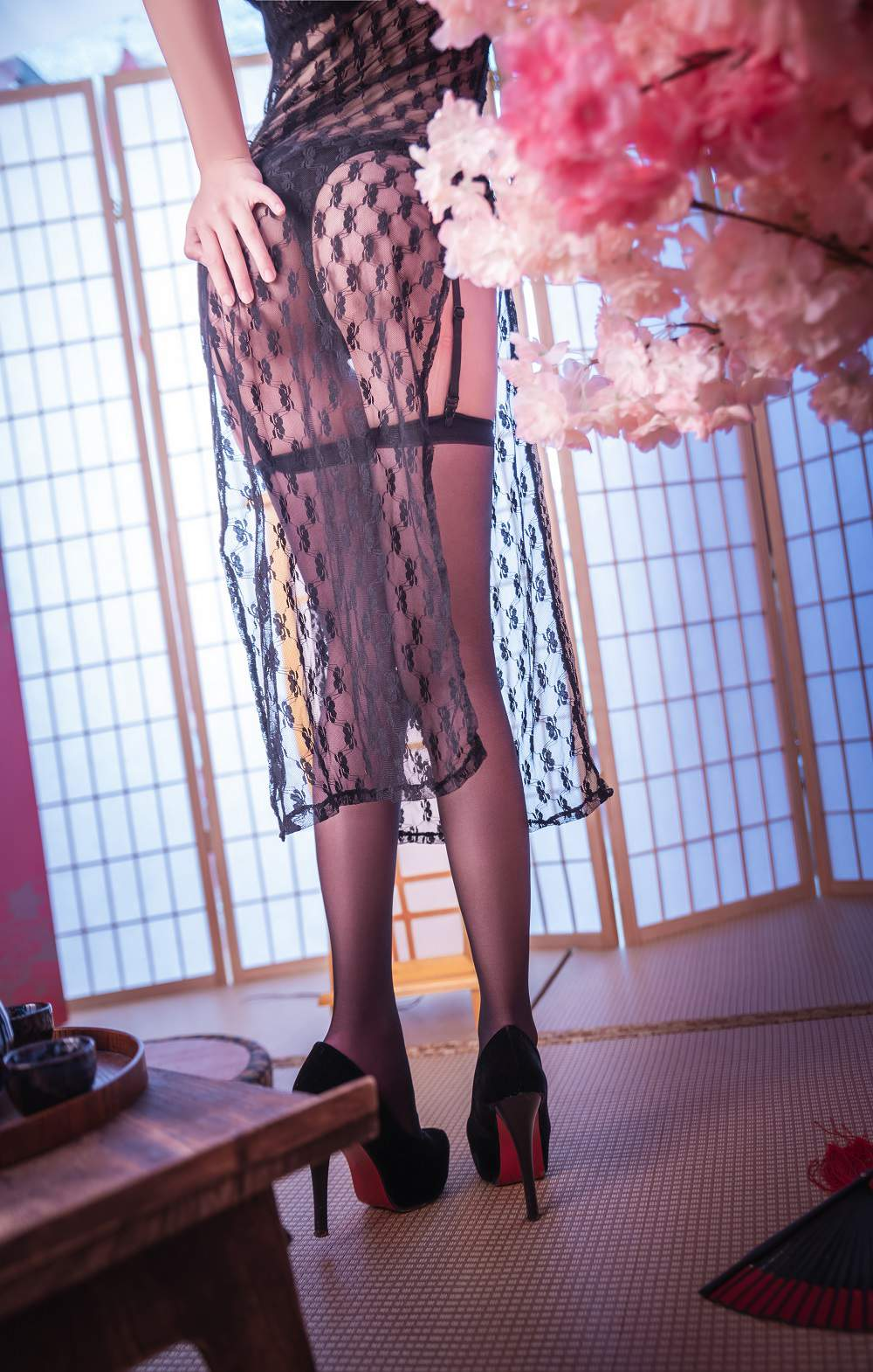 【Cosplay】面饼仙儿 - 黑丝情趣旗袍 COS-第3张