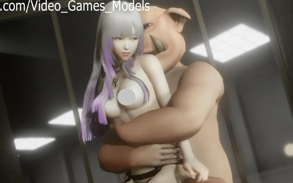 白发天使和猪【猪头套大叔与长腿御姐】 3D动漫-第1张